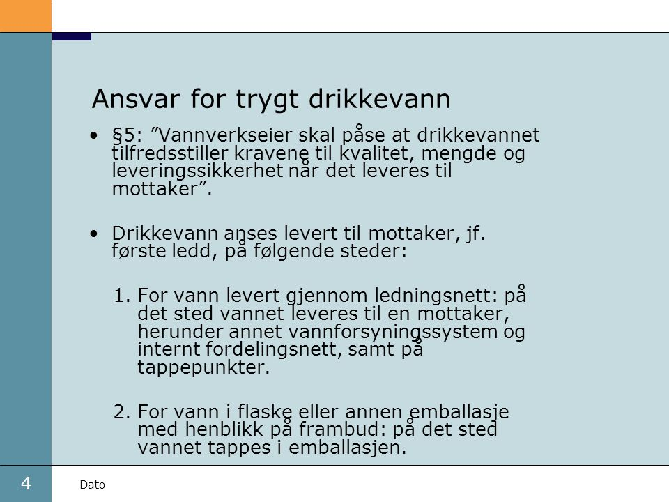 Ansvar for trygt drikkevann