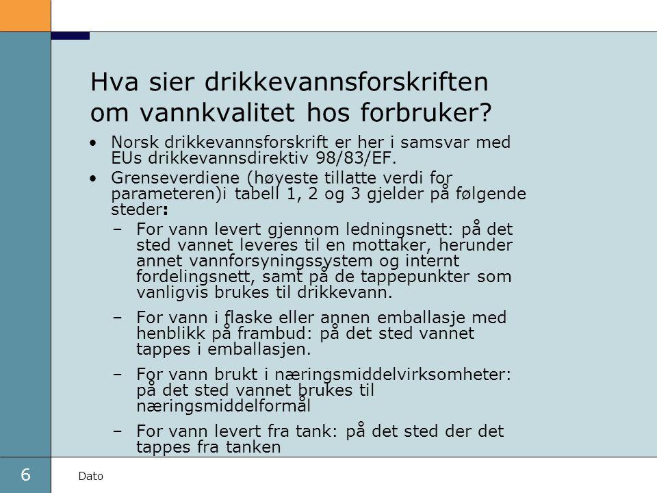 Hva sier drikkevannsforskriften om vannkvalitet hos forbruker