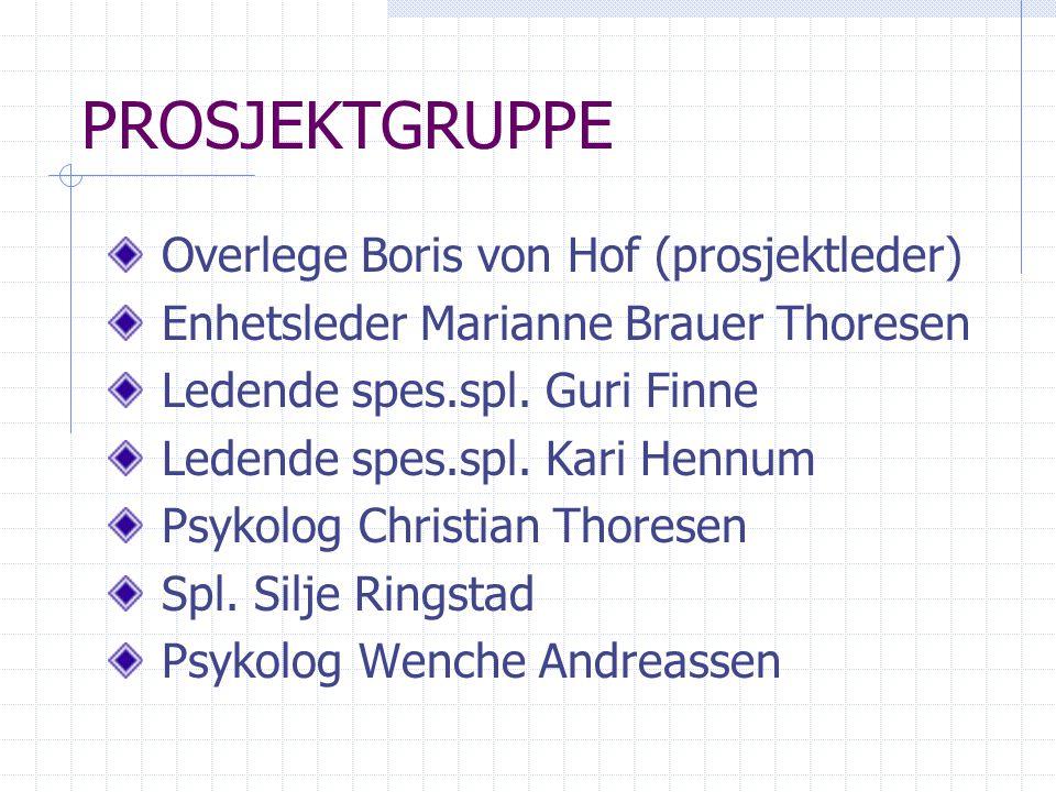 PROSJEKTGRUPPE Overlege Boris von Hof (prosjektleder)