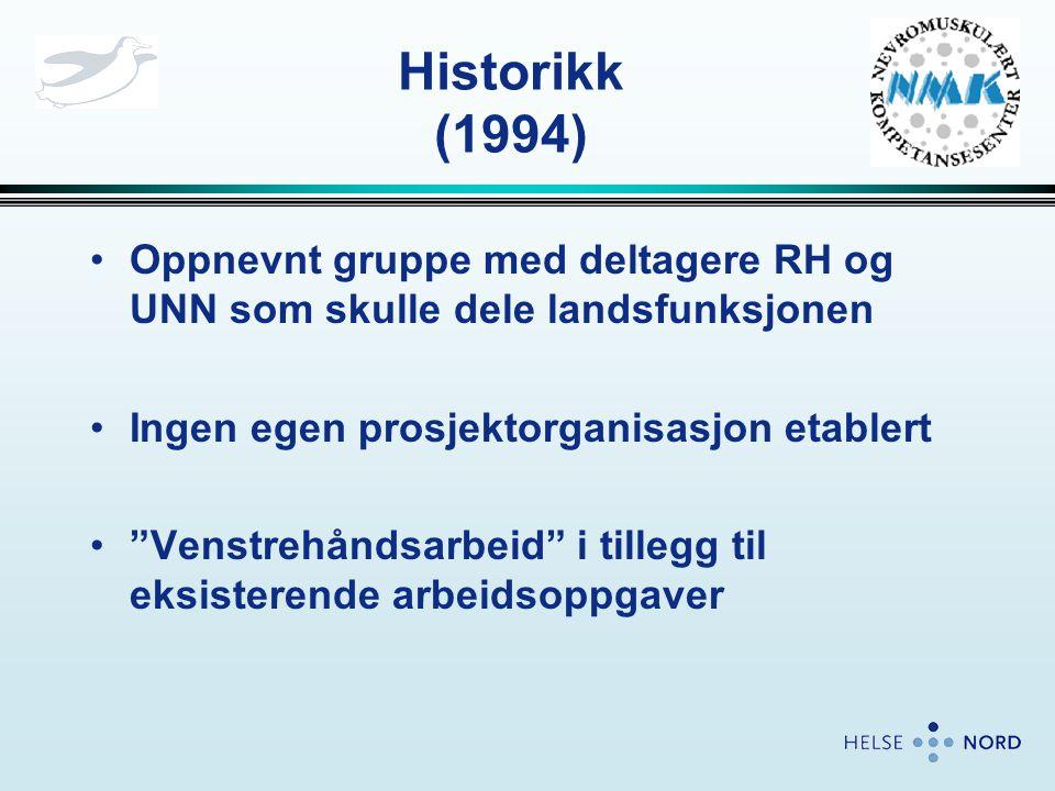 Historikk (1994) Oppnevnt gruppe med deltagere RH og UNN som skulle dele landsfunksjonen. Ingen egen prosjektorganisasjon etablert.