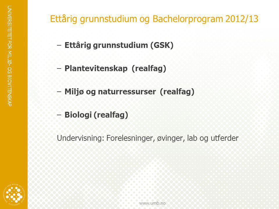 Ettårig grunnstudium og Bachelorprogram 2012/13