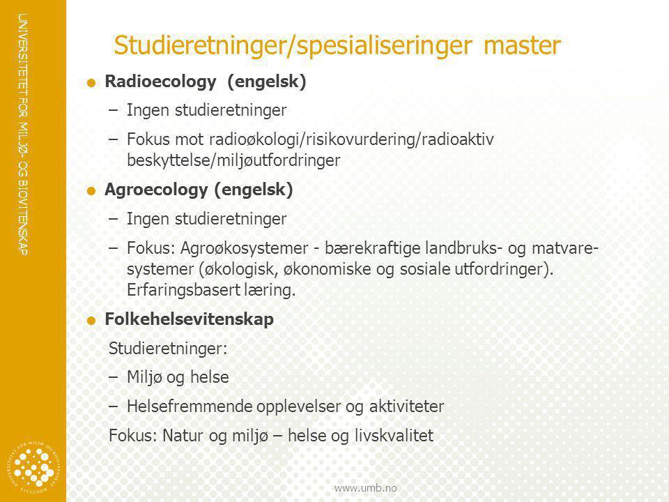 Studieretninger/spesialiseringer master