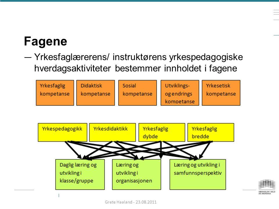 Fagene Yrkesfaglærerens/ instruktørens yrkespedagogiske hverdagsaktiviteter bestemmer innholdet i fagene.