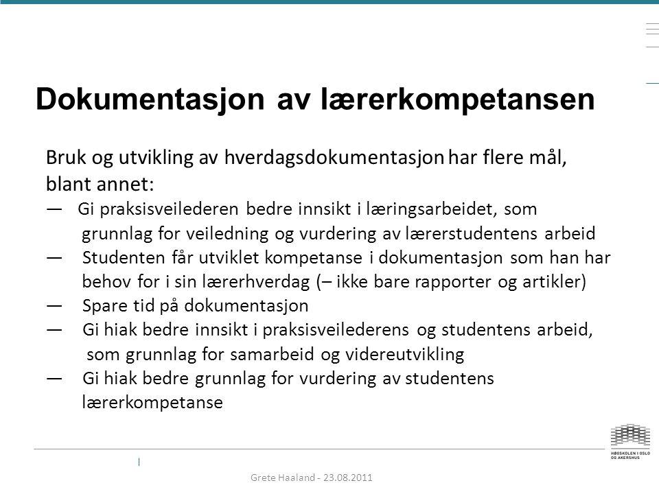 Dokumentasjon av lærerkompetansen