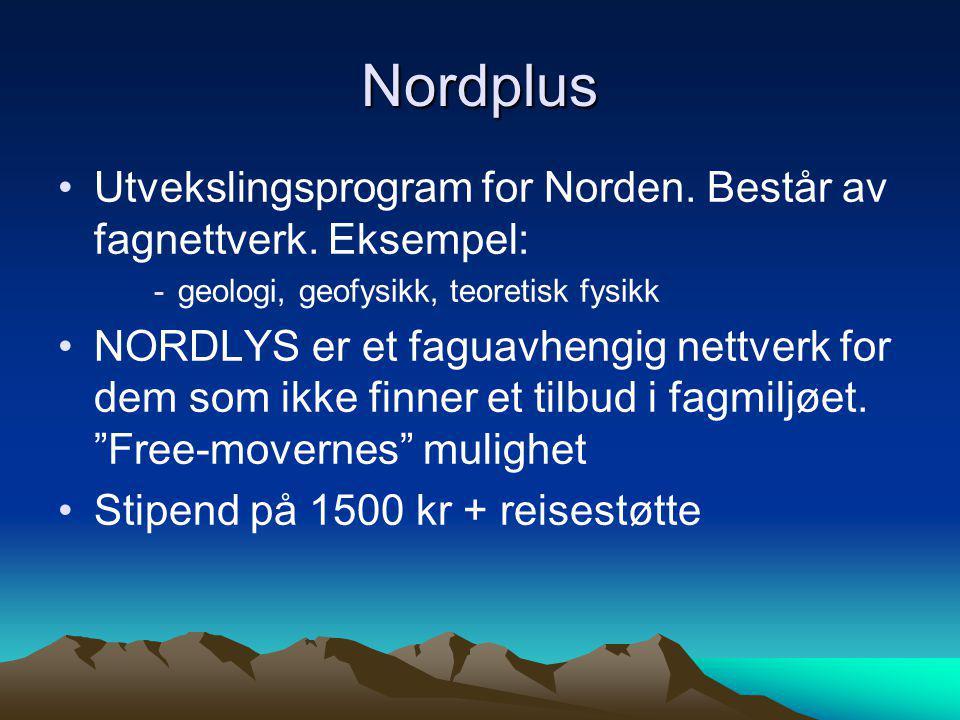 Nordplus Utvekslingsprogram for Norden. Består av fagnettverk. Eksempel: geologi, geofysikk, teoretisk fysikk.