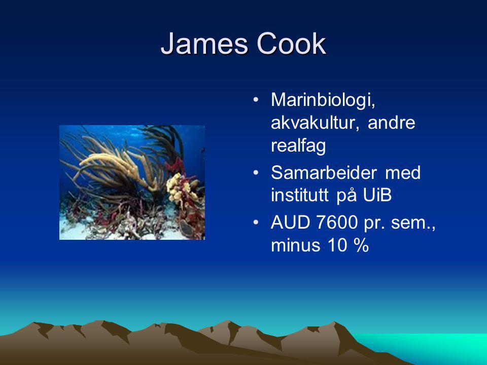 James Cook Marinbiologi, akvakultur, andre realfag