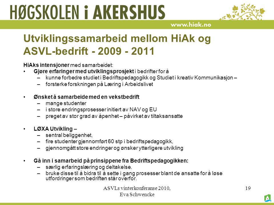 Utviklingssamarbeid mellom HiAk og ASVL-bedrift - 2009 - 2011
