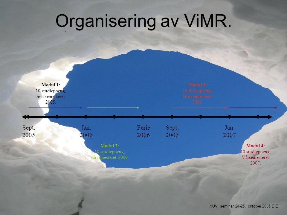 Organisering av ViMR. Sept. 2005 Jan. 2006 Ferie2006 Sept. 2006