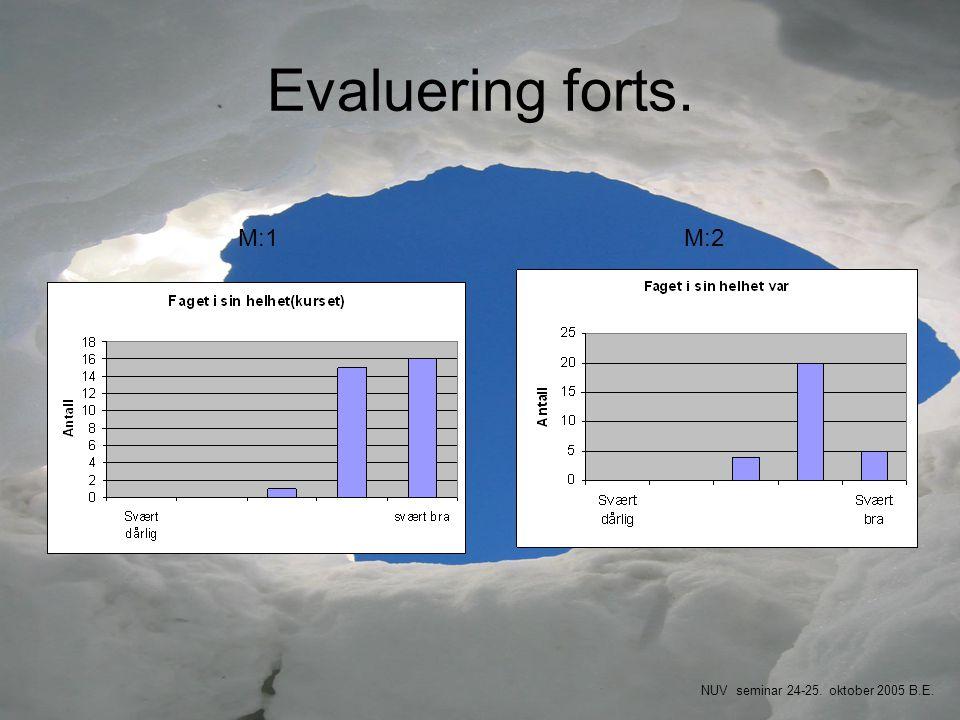 Evaluering forts. M:1 M:2 NUV seminar 24-25. oktober 2005 B.E.