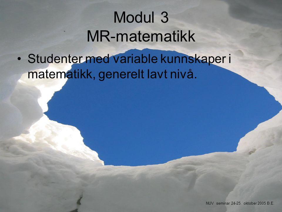 Modul 3 MR-matematikk Studenter med variable kunnskaper i matematikk, generelt lavt nivå.