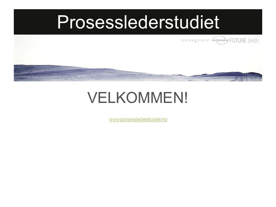 Prosesslederstudiet VELKOMMEN! www.prosesslederstudiet.no