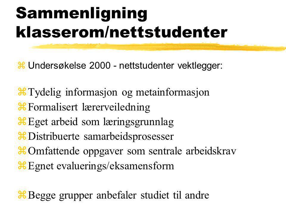 Sammenligning klasserom/nettstudenter