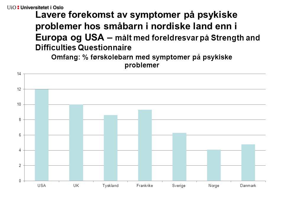 Lavere forekomst av symptomer på psykiske problemer hos småbarn i nordiske land enn i Europa og USA – målt med foreldresvar på Strength and Difficulties Questionnaire