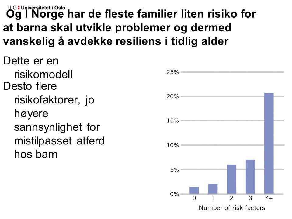 Og I Norge har de fleste familier liten risiko for at barna skal utvikle problemer og dermed vanskelig å avdekke resiliens i tidlig alder