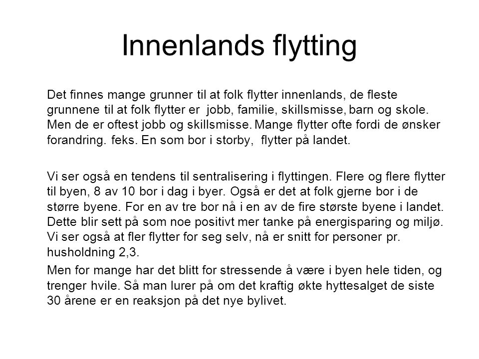 Innenlands flytting