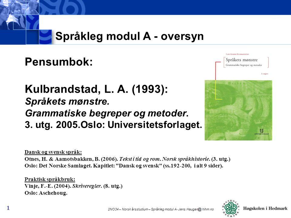 Språkleg modul A - oversyn
