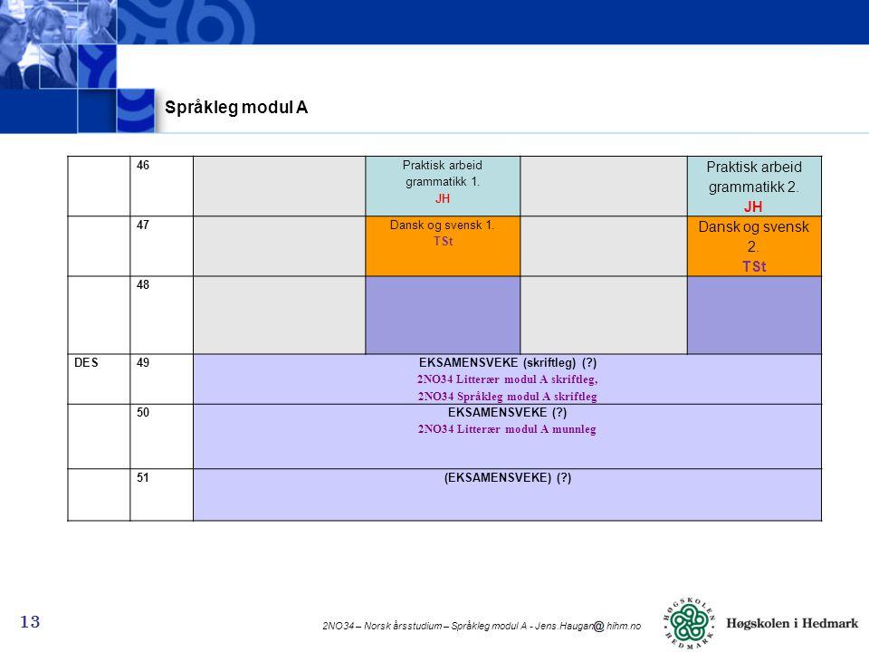 EKSAMENSVEKE ( ) 2NO34 Litterær modul A munnleg