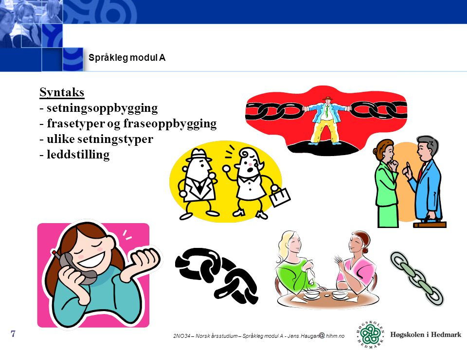 Språkleg modul A Syntaks - setningsoppbygging - frasetyper og fraseoppbygging - ulike setningstyper - leddstilling.