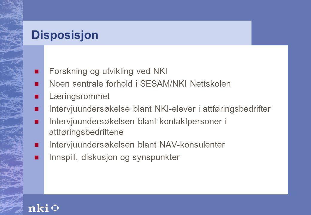 Disposisjon Forskning og utvikling ved NKI