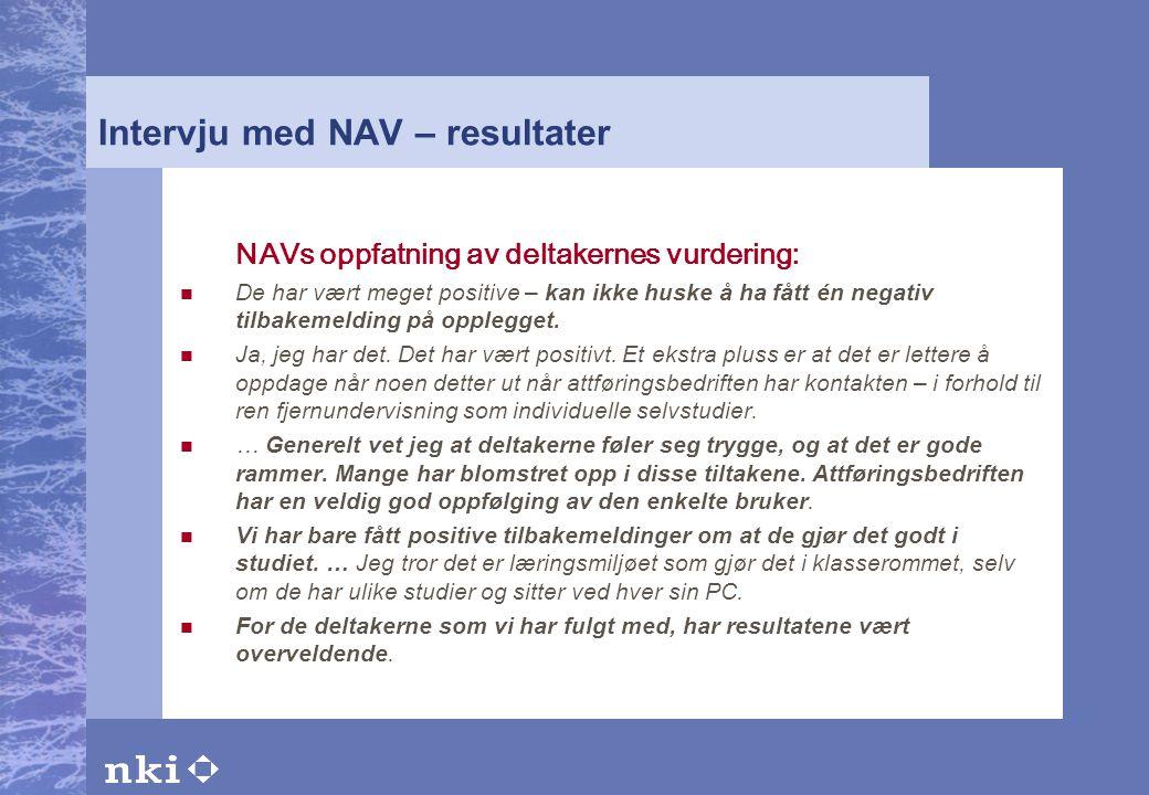 Intervju med NAV – resultater