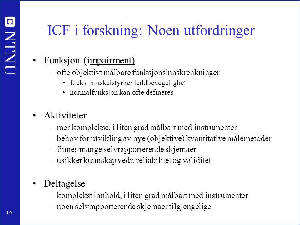 ICF i forskning: Noen utfordringer