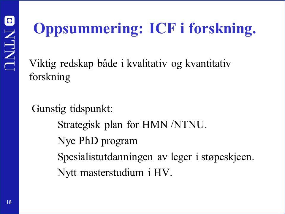 Oppsummering: ICF i forskning.