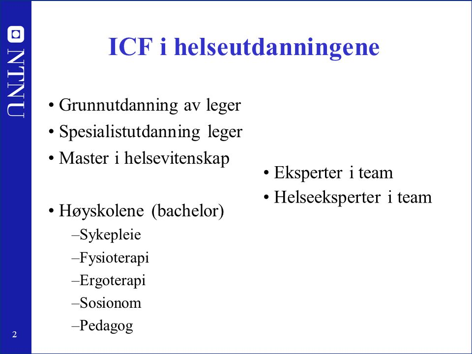 ICF i helseutdanningene