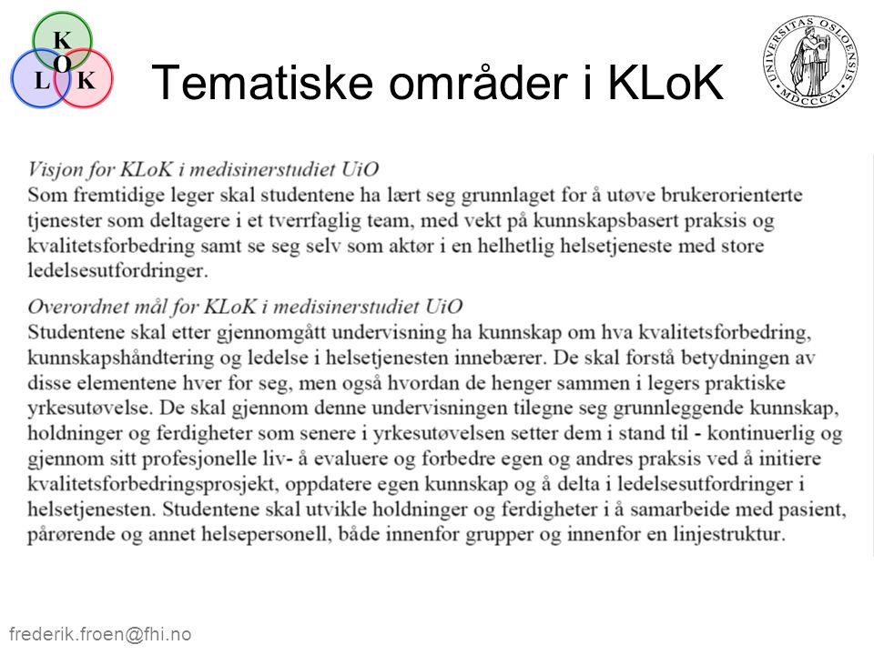 Tematiske områder i KLoK