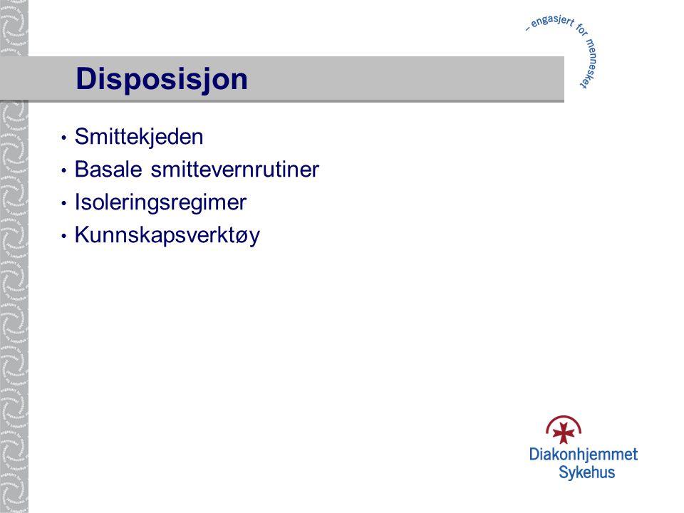 Disposisjon Smittekjeden Basale smittevernrutiner Isoleringsregimer