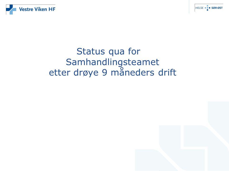 Status qua for Samhandlingsteamet etter drøye 9 måneders drift