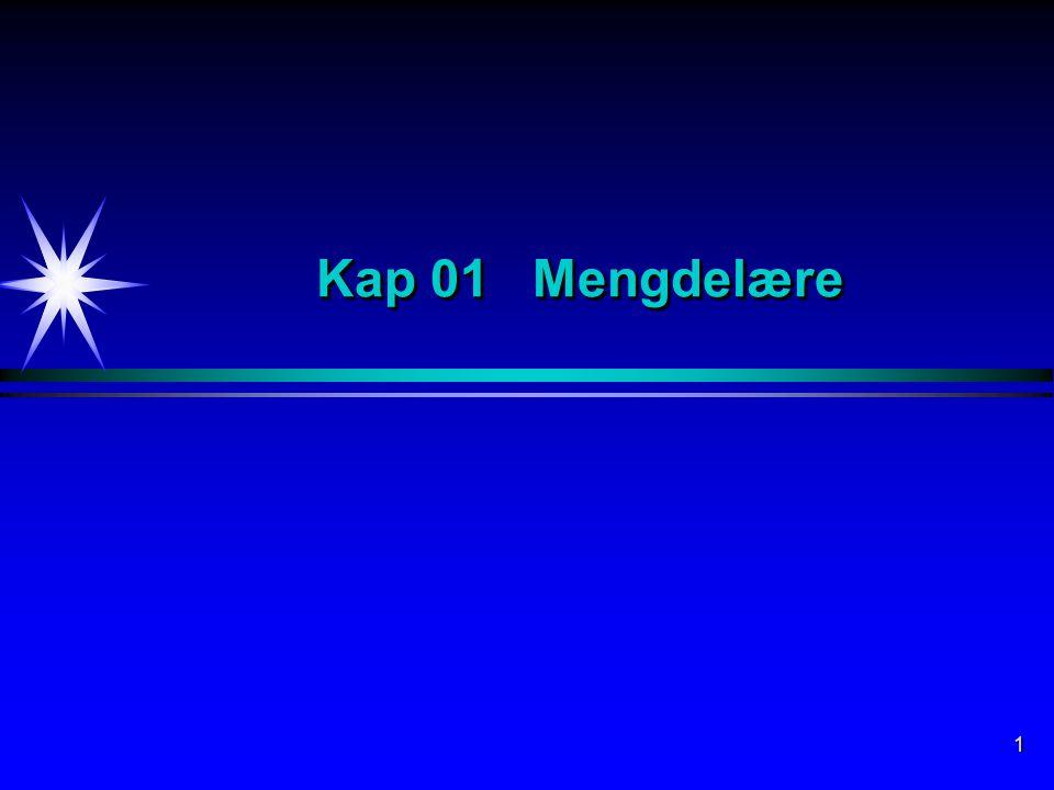 Kap 01 Mengdelære Mengdelære er et eget område innen matematikk som etterhvert har fått et stort anvendelsesområde, bl.a.