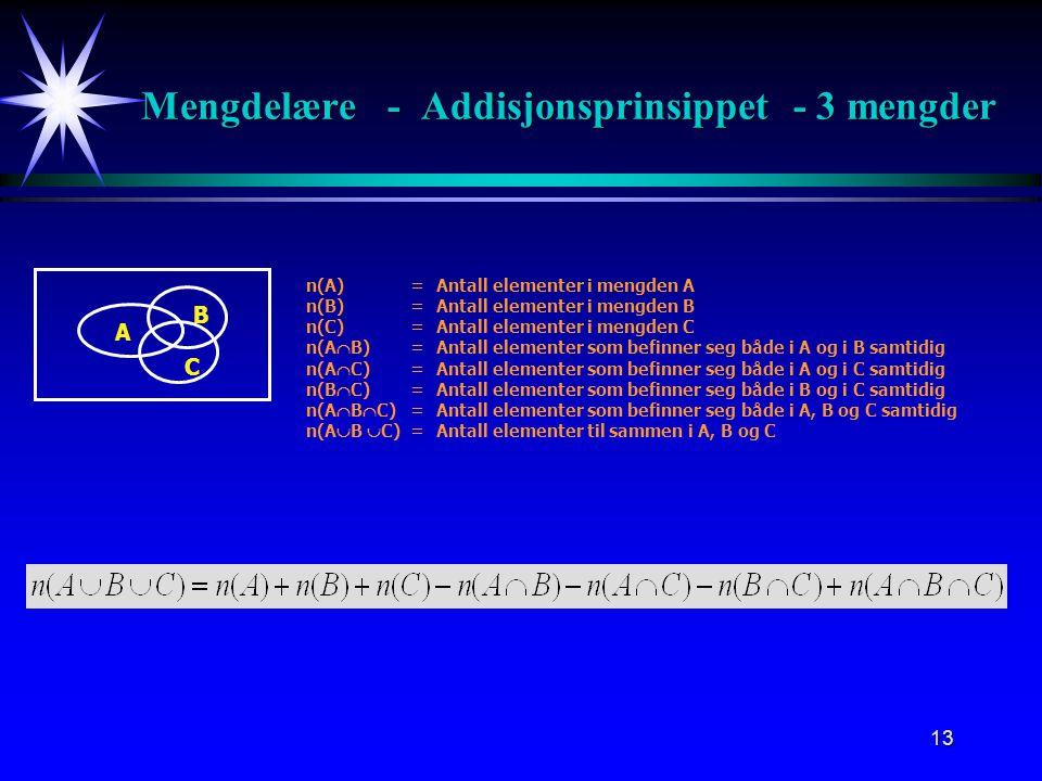 Mengdelære - Addisjonsprinsippet - 3 mengder