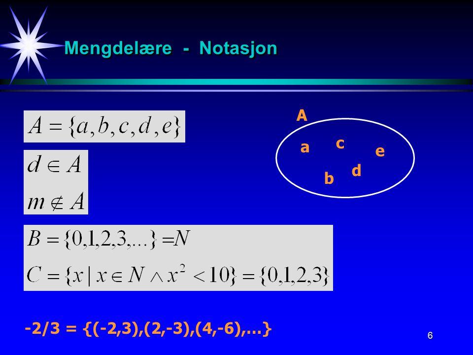 Mengdelære - Notasjon A c a e d b -2/3 = {(-2,3),(2,-3),(4,-6),…}