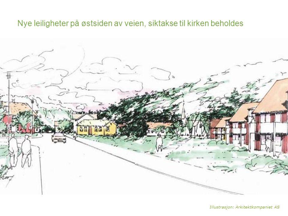 Nye leiligheter på østsiden av veien, siktakse til kirken beholdes