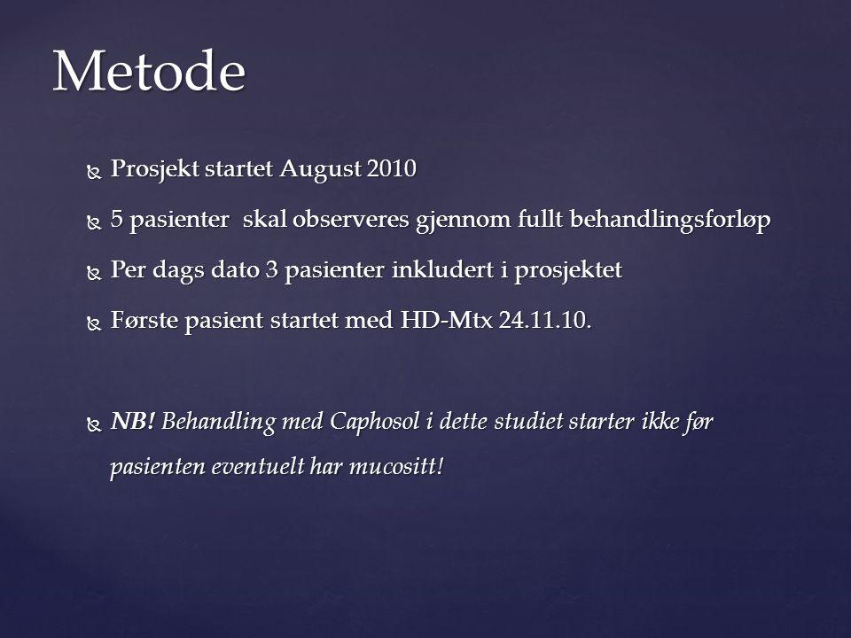 Metode Prosjekt startet August 2010