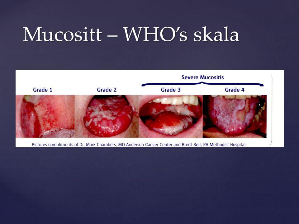 Mucositt – WHO's skala