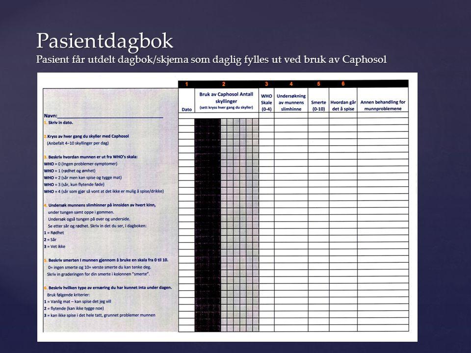 Pasientdagbok Pasient får utdelt dagbok/skjema som daglig fylles ut ved bruk av Caphosol