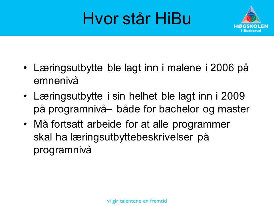 Hvor står HiBu Læringsutbytte ble lagt inn i malene i 2006 på emnenivå