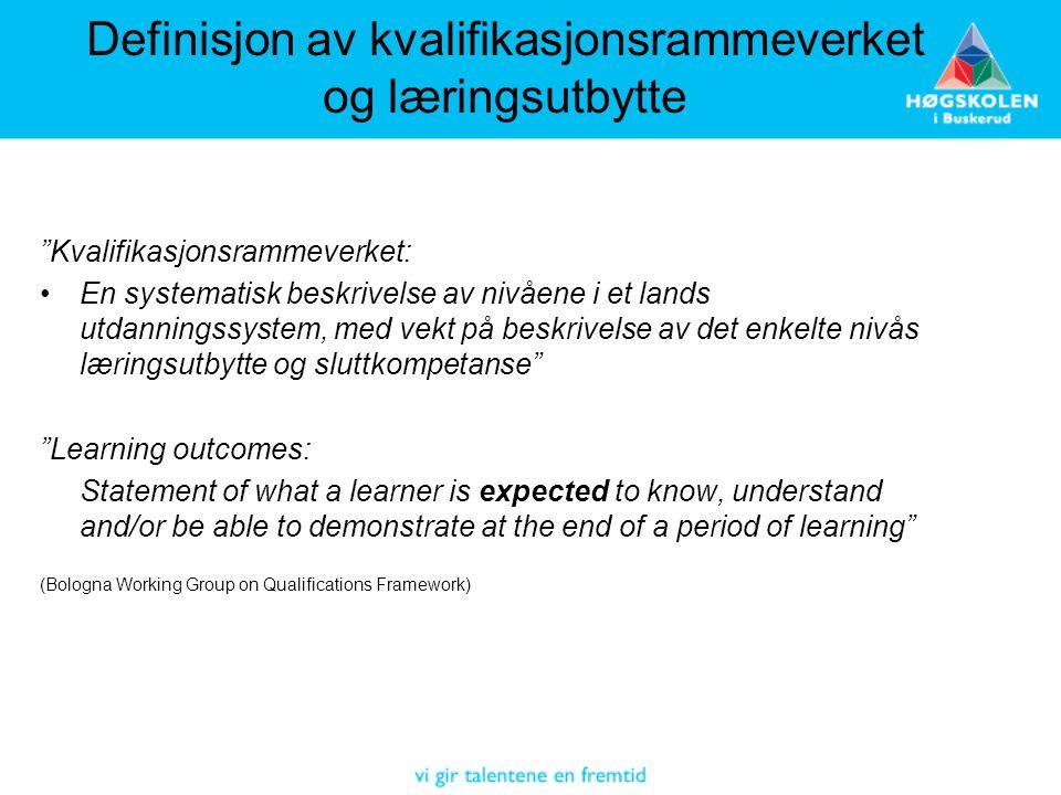 Definisjon av kvalifikasjonsrammeverket og læringsutbytte