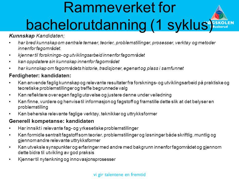 Rammeverket for bachelorutdanning (1 syklus)