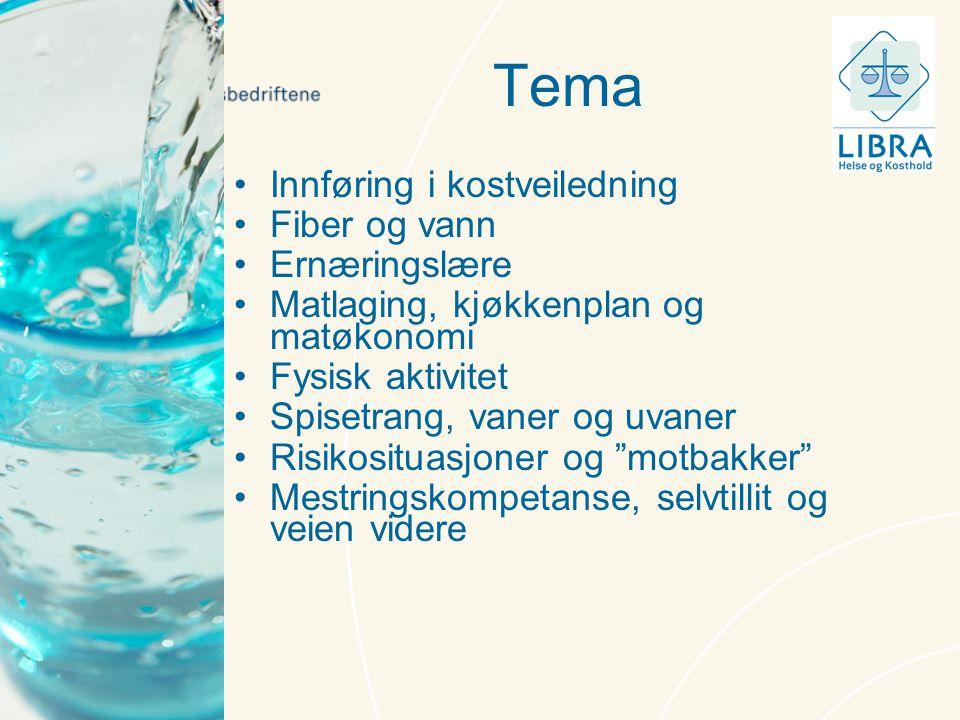 Tema Innføring i kostveiledning Fiber og vann Ernæringslære