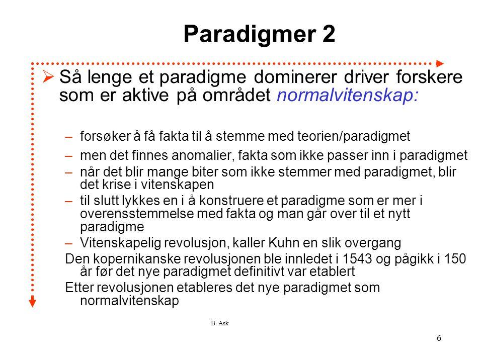 Paradigmer 2 Så lenge et paradigme dominerer driver forskere som er aktive på området normalvitenskap: