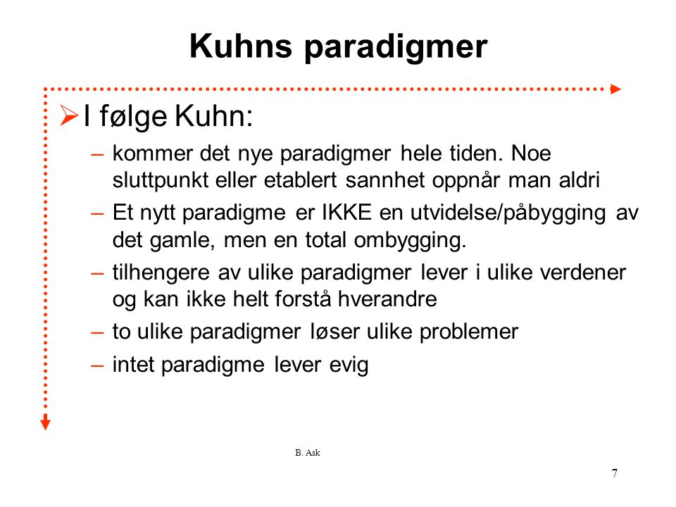 Kuhns paradigmer I følge Kuhn: