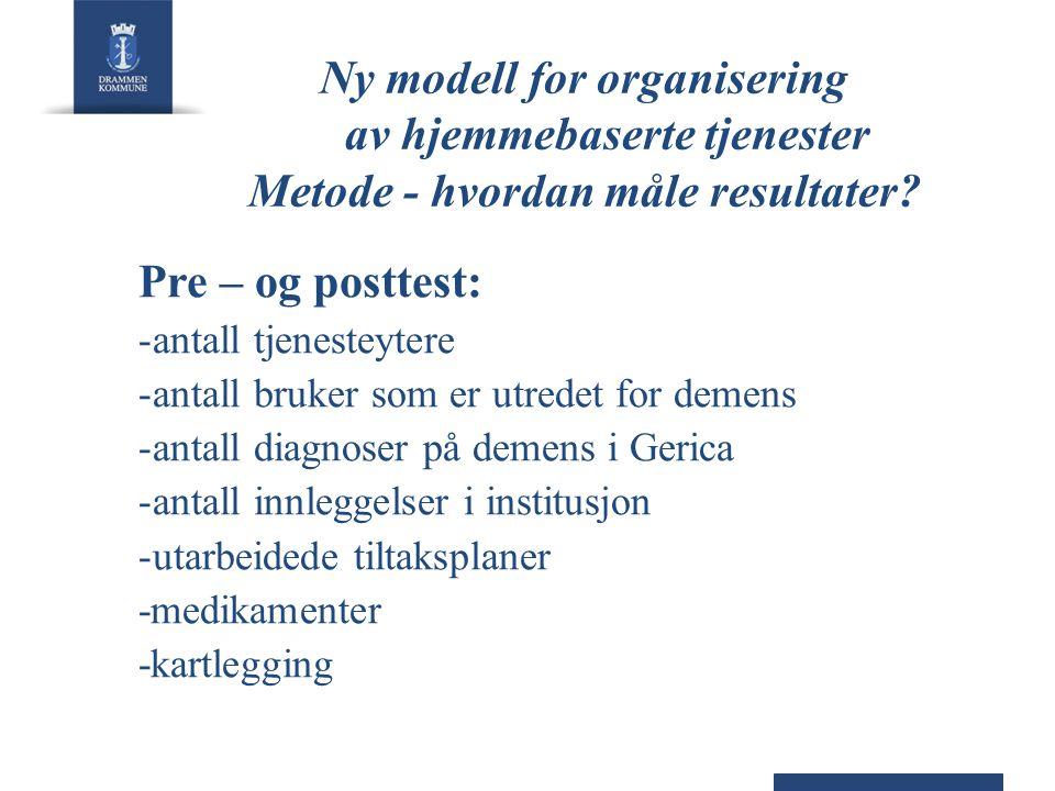 Ny modell for organisering av hjemmebaserte tjenester Metode - hvordan måle resultater