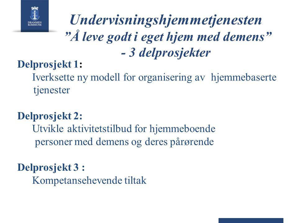Undervisningshjemmetjenesten Å leve godt i eget hjem med demens - 3 delprosjekter