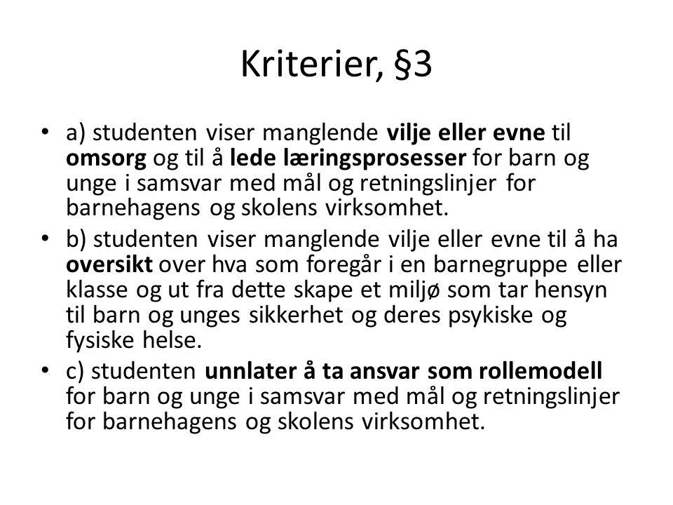 Kriterier, §3