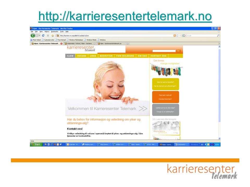 http://karrieresentertelemark.no Se på nettsiden og ressurs sidene for veiledere og rådgivere (litt.tips, lenker m.m.)