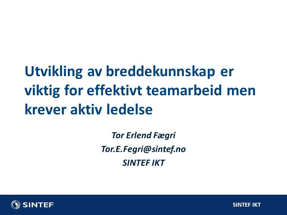 Tor Erlend Fægri Tor.E.Fegri@sintef.no SINTEF IKT
