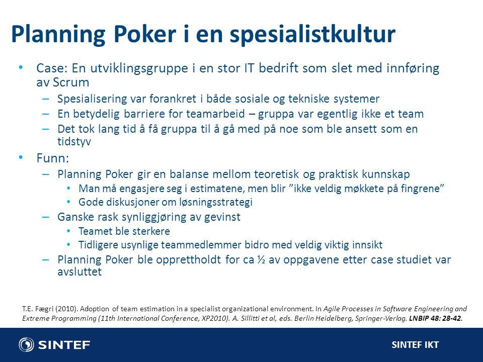 Planning Poker i en spesialistkultur