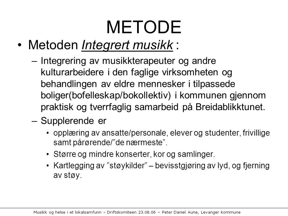 METODE Metoden Integrert musikk :